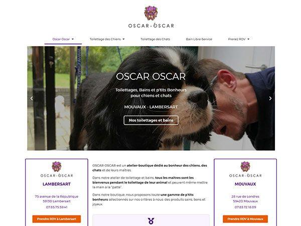 Aperçu du site Oscar Oscar, toilettage chien-chat
